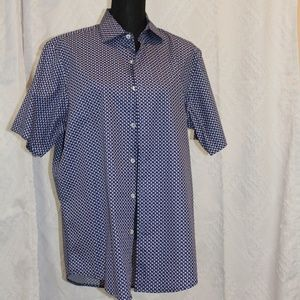 Fasso Elba Blue & White short sleeve button down